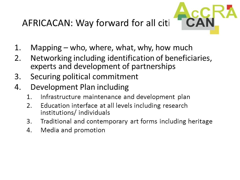 AFRICACAN: Way forward for all cities