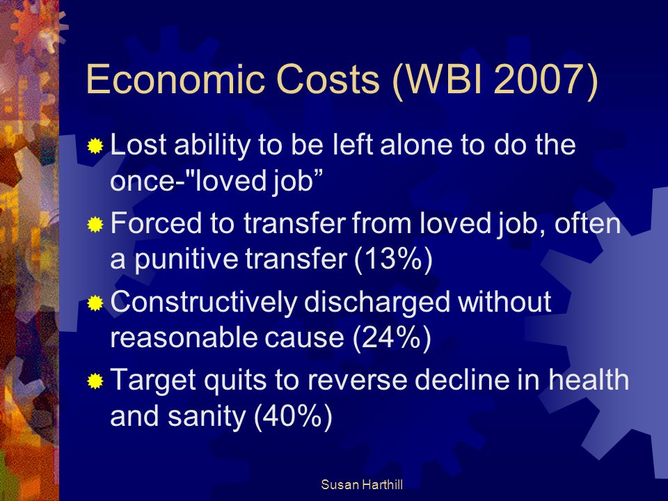 Economic Costs (WBI 2007) Lost ability to be left alone to do the once- loved job