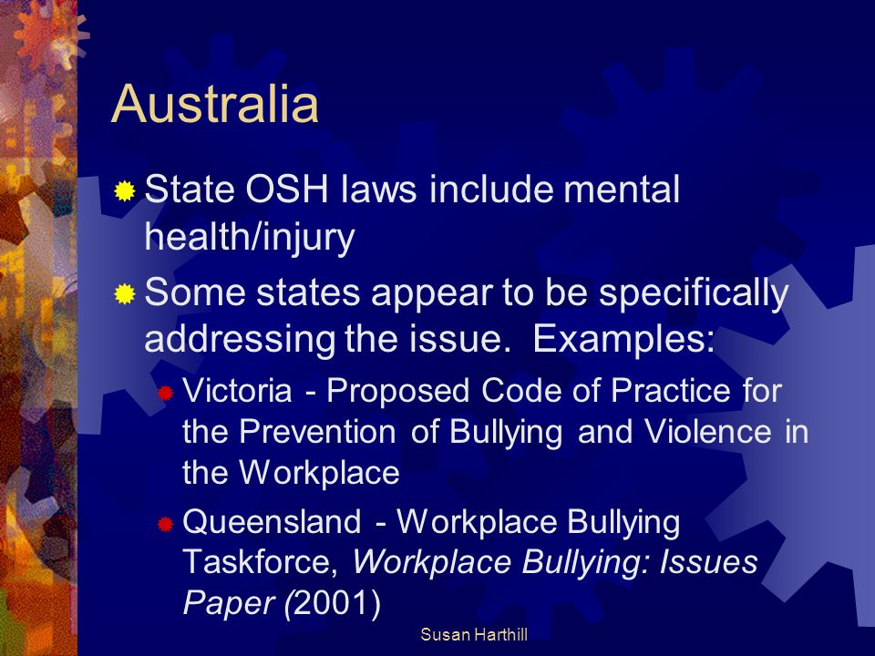 Australia State OSH laws include mental health/injury