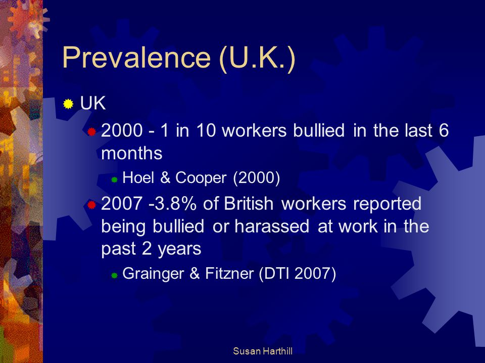 Prevalence (U.K.) UK. 2000 - 1 in 10 workers bullied in the last 6 months. Hoel & Cooper (2000)