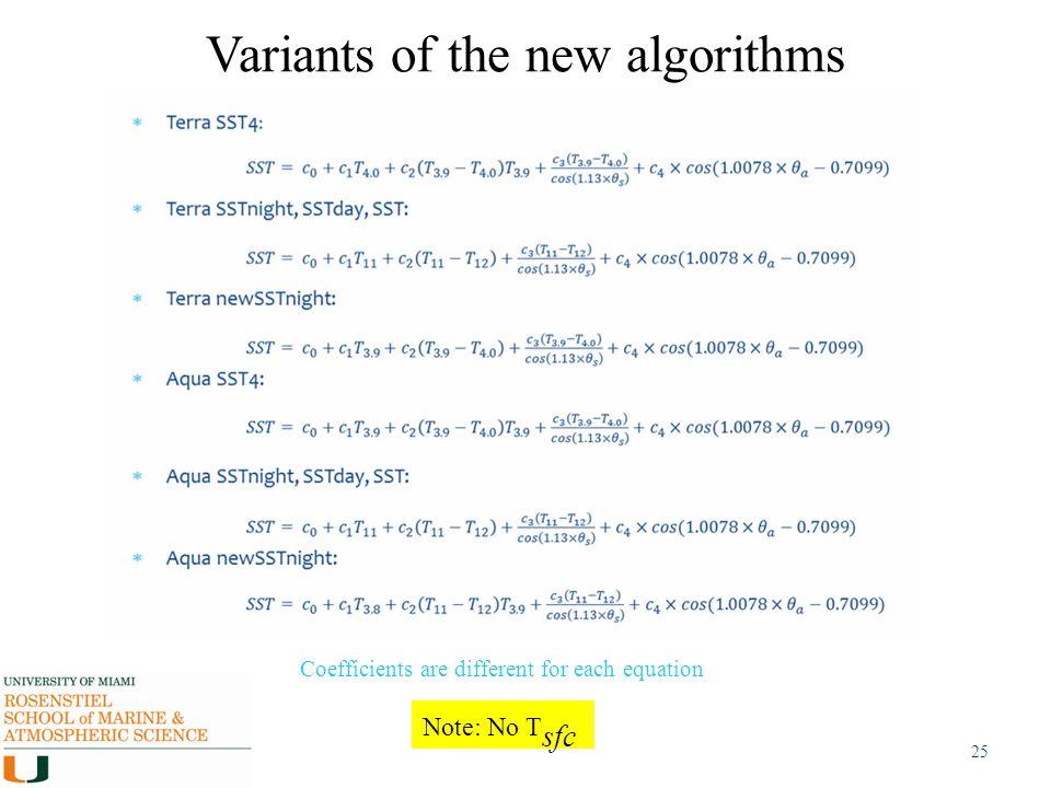 Variants of the new algorithms