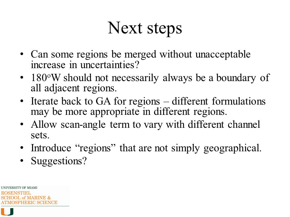 Next steps Can some regions be merged without unacceptable increase in uncertainties