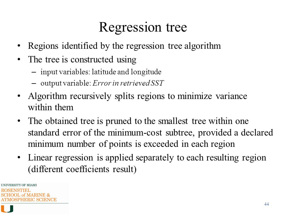 Regression tree Regions identified by the regression tree algorithm