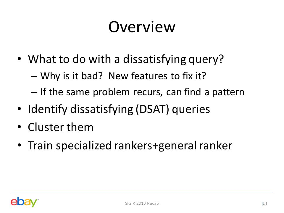 Overview What to do with a dissatisfying query