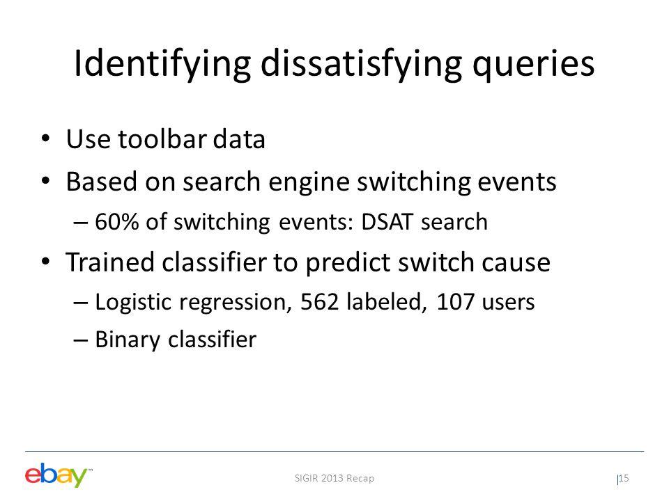 Identifying dissatisfying queries
