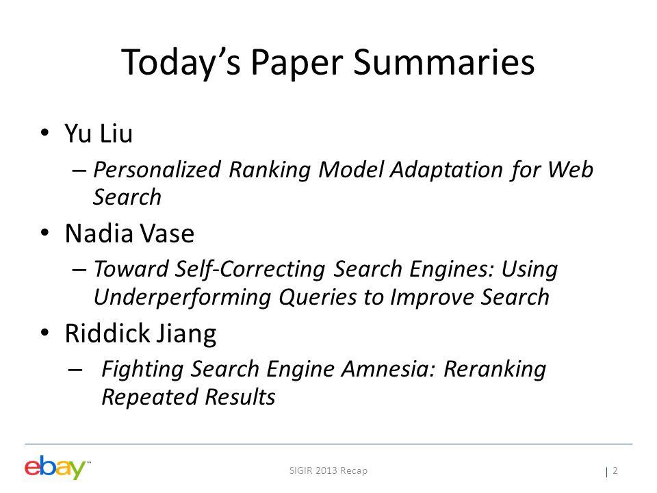 Today's Paper Summaries