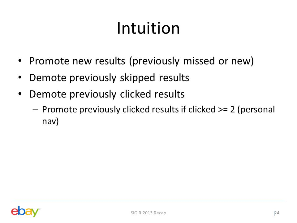 Intuition Promote new results (previously missed or new)