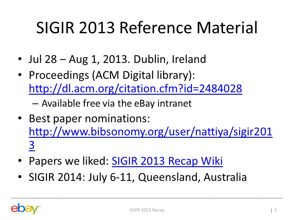 SIGIR 2013 Reference Material