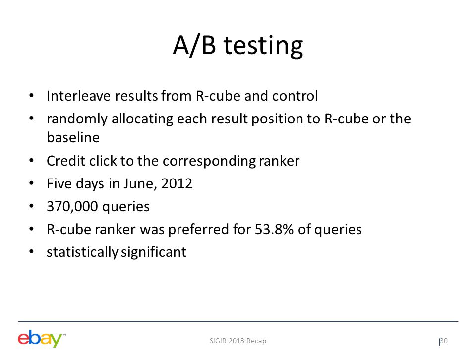 A/B testing Interleave results from R-cube and control