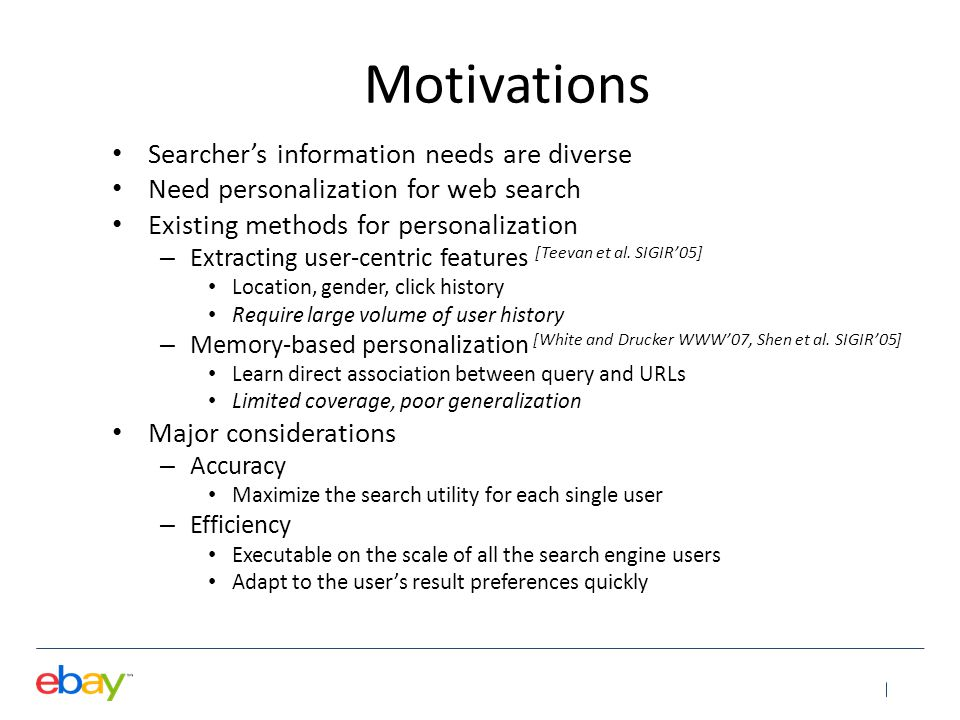 Motivations Searcher's information needs are diverse
