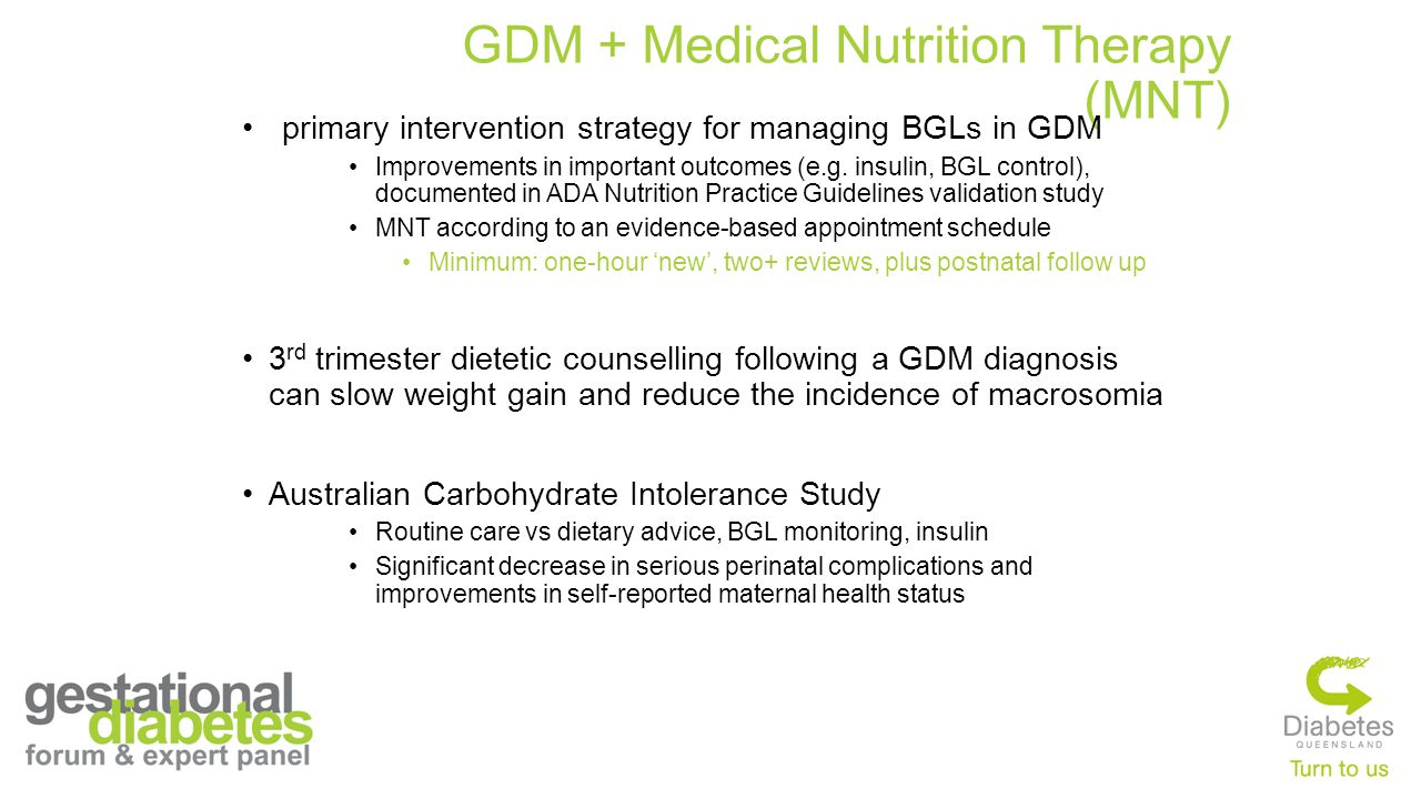 GDM + Medical Nutrition Therapy (MNT)