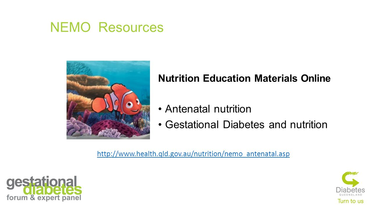 NEMO Resources Antenatal nutrition Gestational Diabetes and nutrition