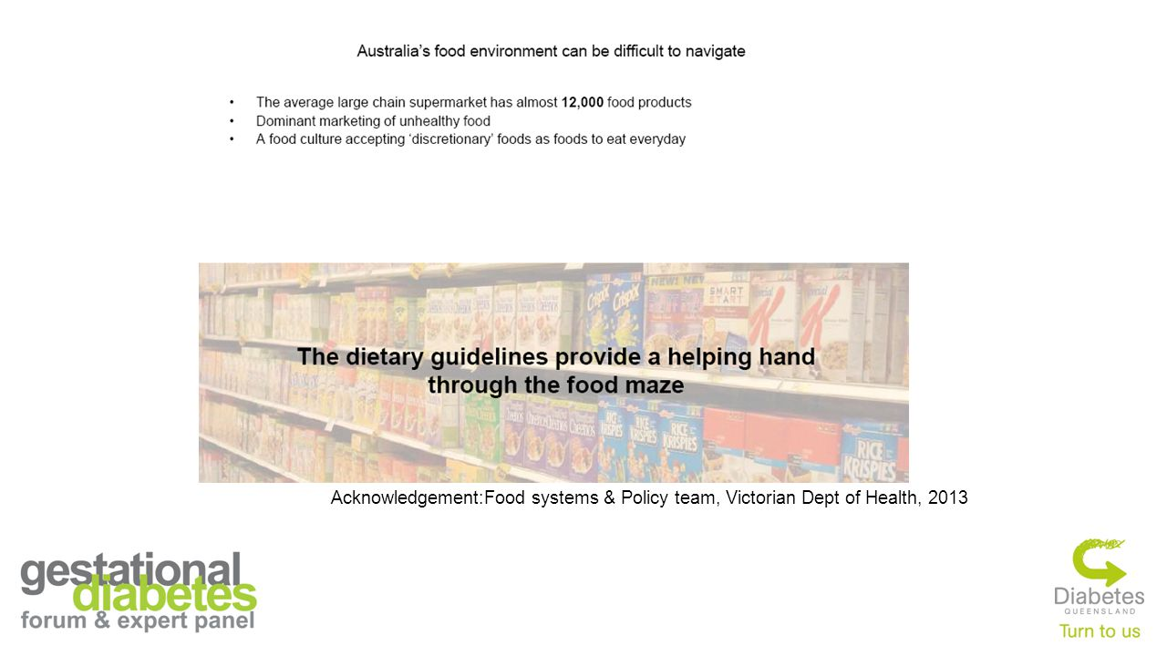 Acknowledgement:Food systems & Policy team, Victorian Dept of Health, 2013