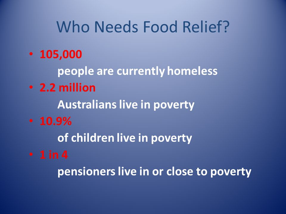 Who Needs Food Relief 105,000 people are currently homeless