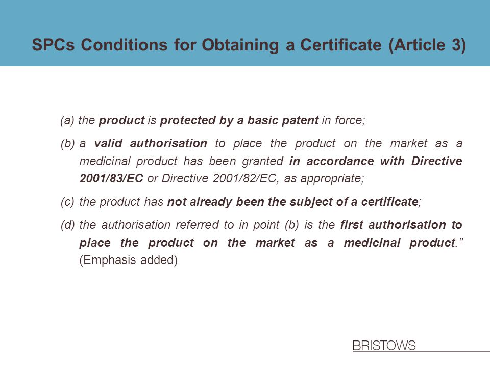 SPCs Conditions for Obtaining a Certificate (Article 3)