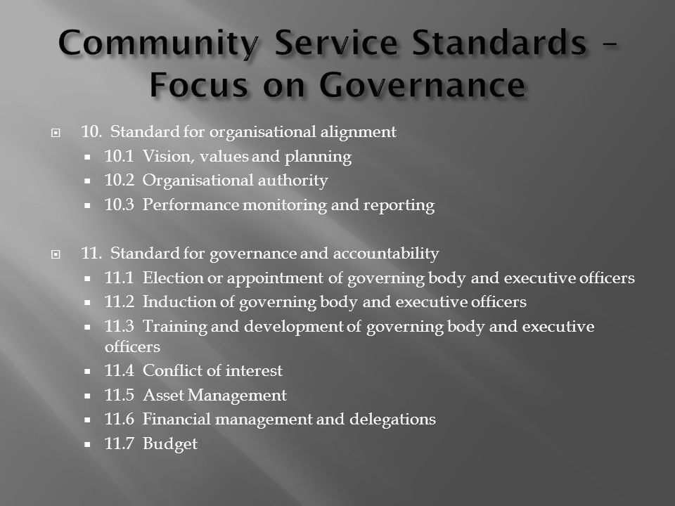 Community Service Standards – Focus on Governance