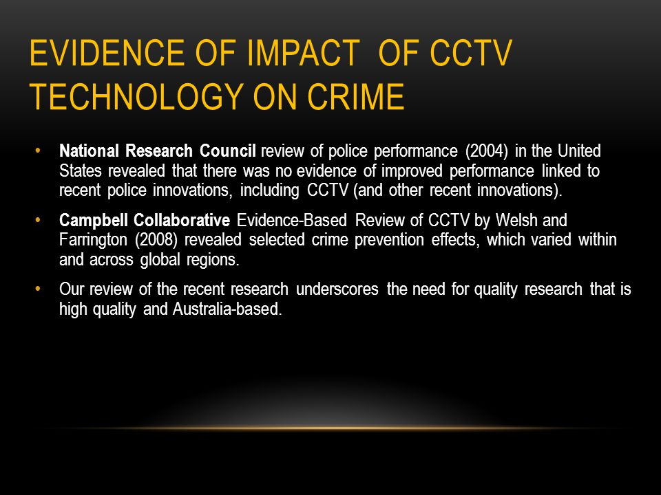 Evidence of Impact of CCTV Technology on Crime