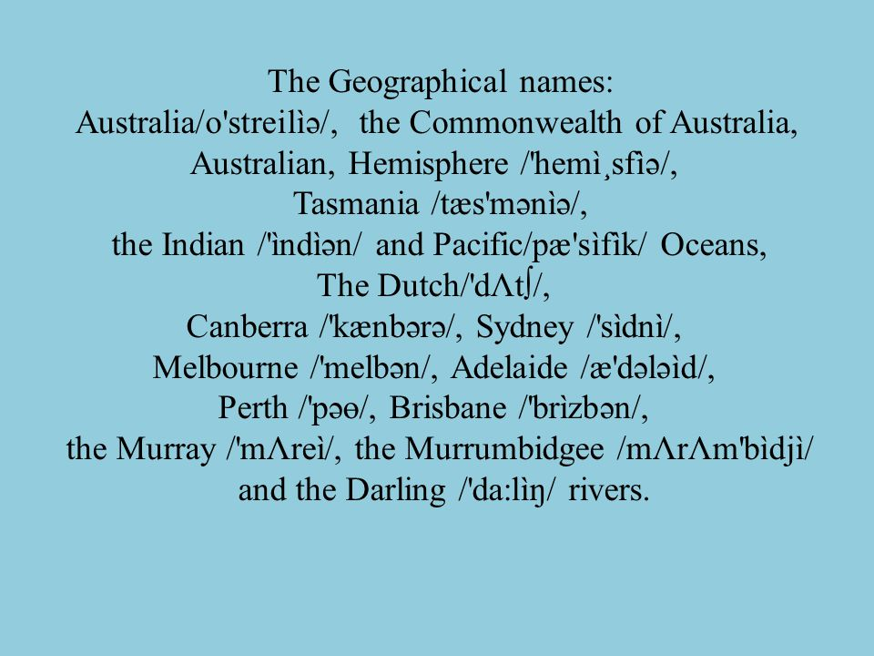 The Geographical names: