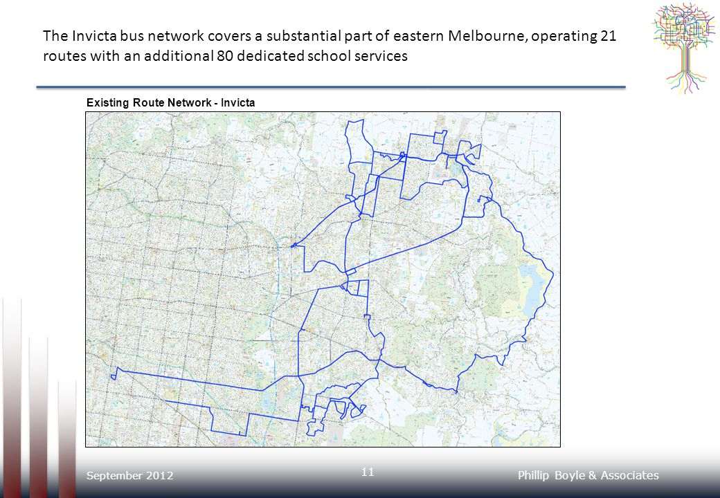 The Invicta bus network covers a substantial part of eastern Melbourne, operating 21 routes with an additional 80 dedicated school services