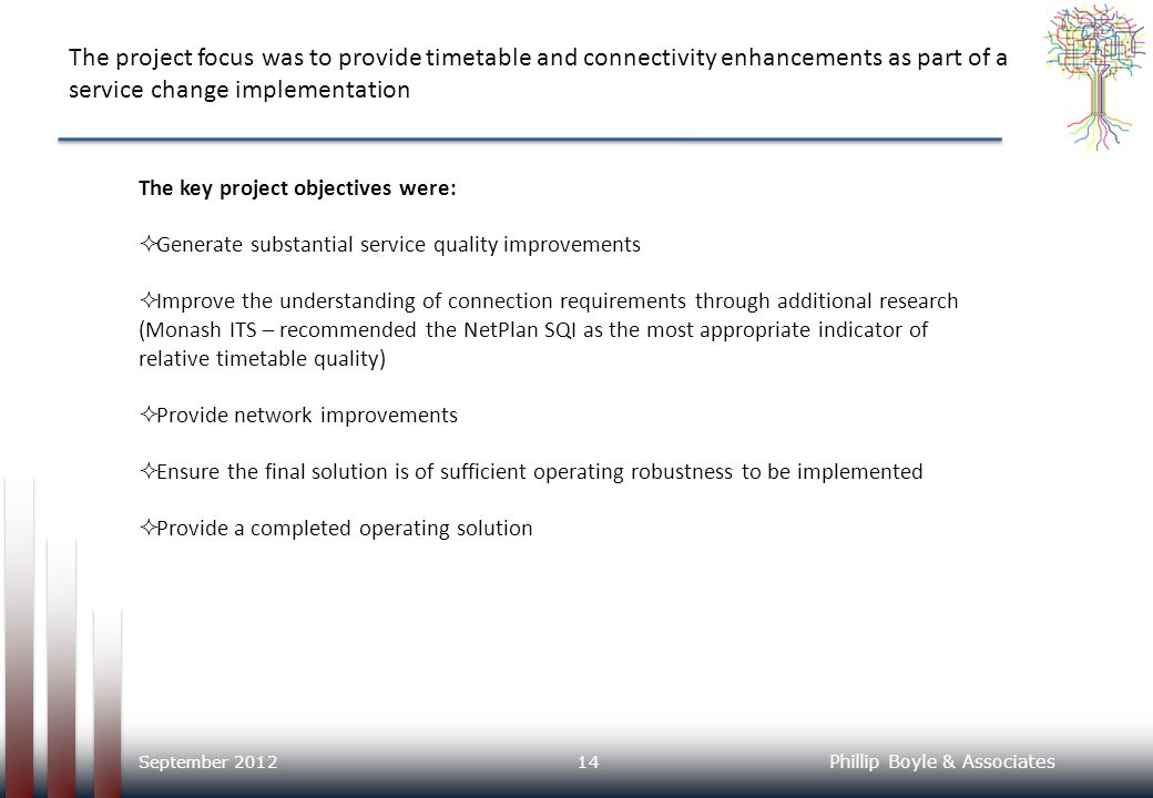 The project focus was to provide timetable and connectivity enhancements as part of a service change implementation