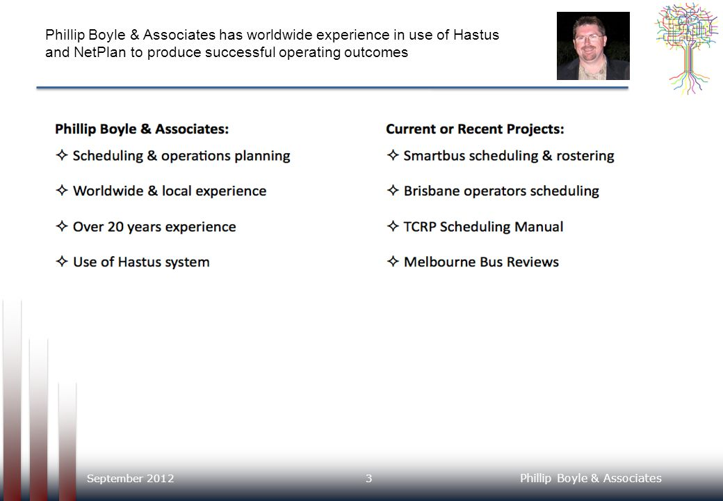 Phillip Boyle & Associates has worldwide experience in use of Hastus