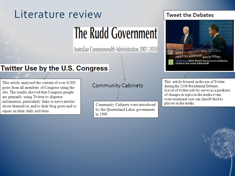 Literature review Tweet the Debates Community Cabinets