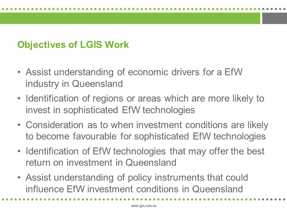 Objectives of LGIS Work