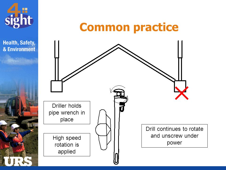 Common practice Driller holds pipe wrench in place
