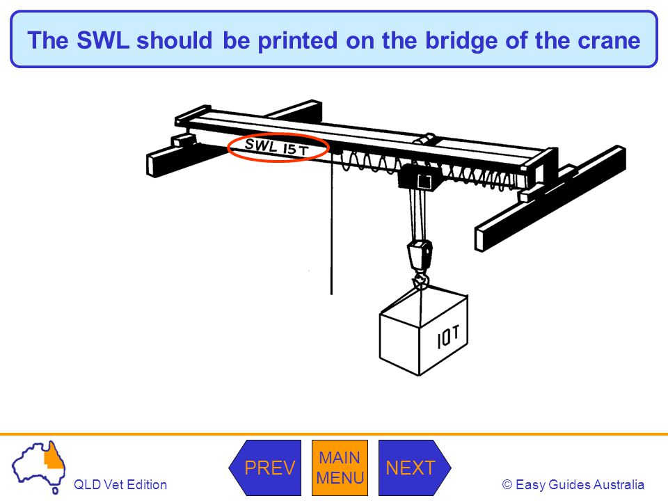 The SWL should be printed on the bridge of the crane