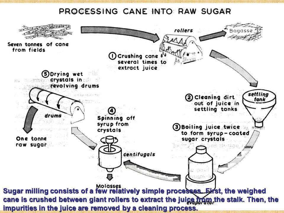 Sugar milling consists of a few relatively simple processes