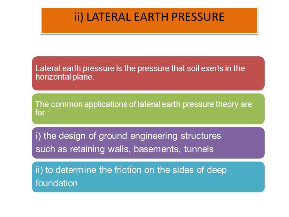 ii) LATERAL EARTH PRESSURE