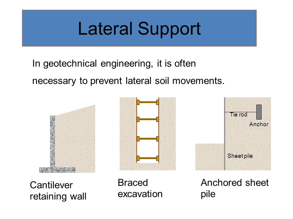 Lateral Support In geotechnical engineering, it is often