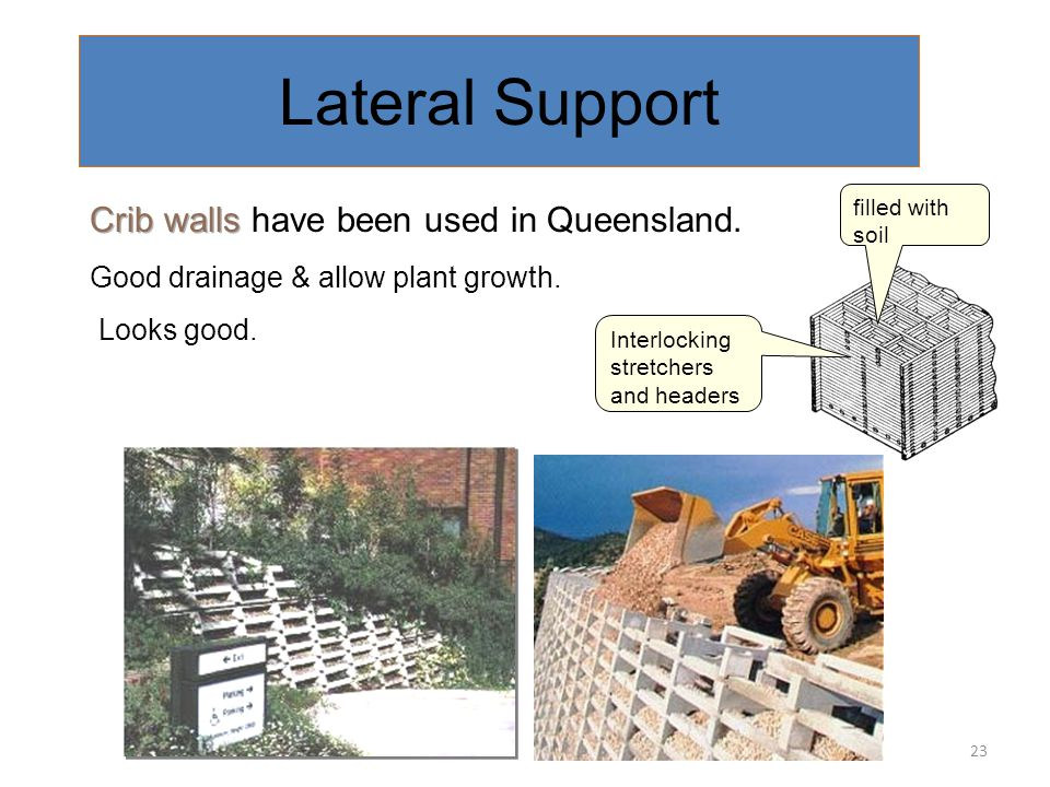 Lateral Support Crib walls have been used in Queensland.