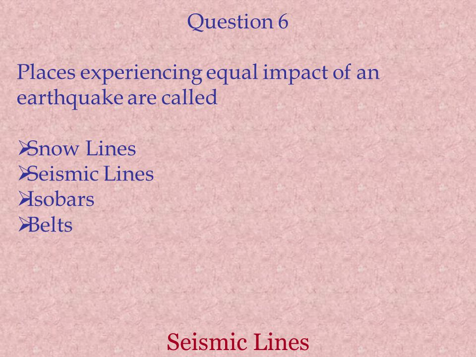 Seismic Lines Question 6