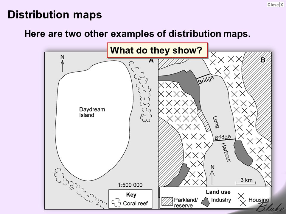 Distribution maps Here are two other examples of distribution maps.