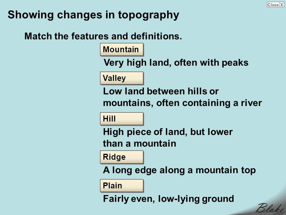 Showing changes in topography