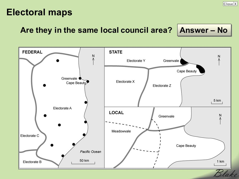 Electoral maps Are they in the same local council area Answer – No