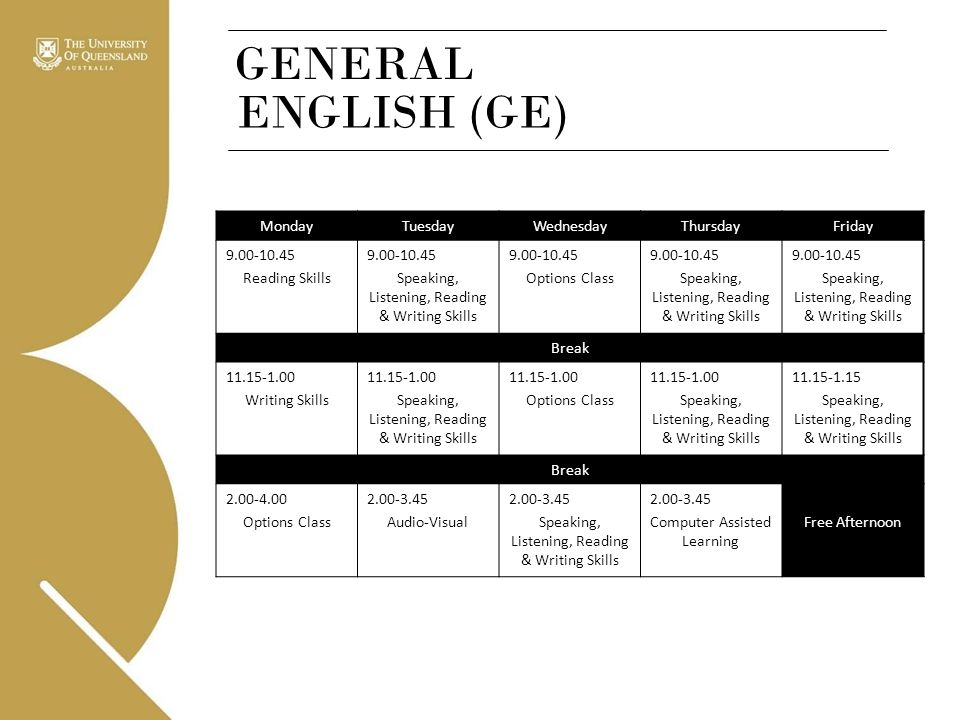 GENERAL ENGLISH (GE) Monday Tuesday Wednesday Thursday Friday