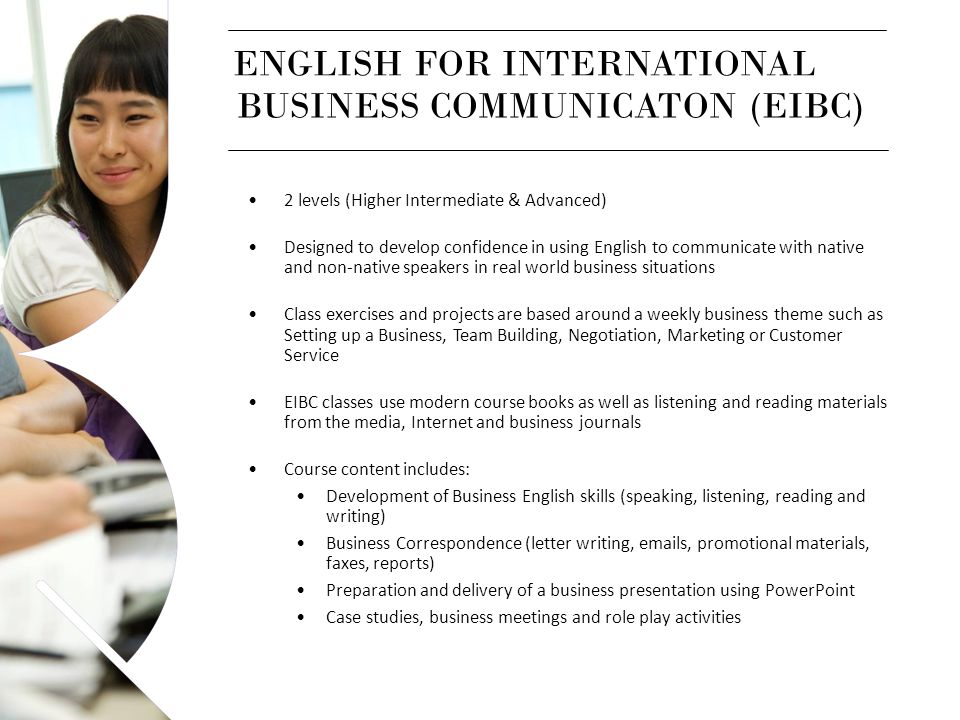 ENGLISH FOR INTERNATIONAL BUSINESS COMMUNICATON (EIBC)