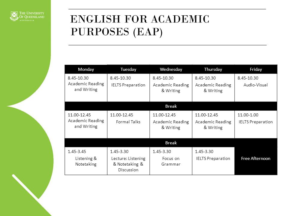 ENGLISH FOR ACADEMIC PURPOSES (EAP) Monday Tuesday Wednesday Thursday
