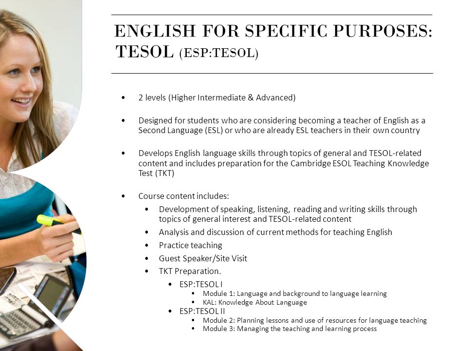 ENGLISH FOR SPECIFIC PURPOSES: TESOL (ESP:TESOL)
