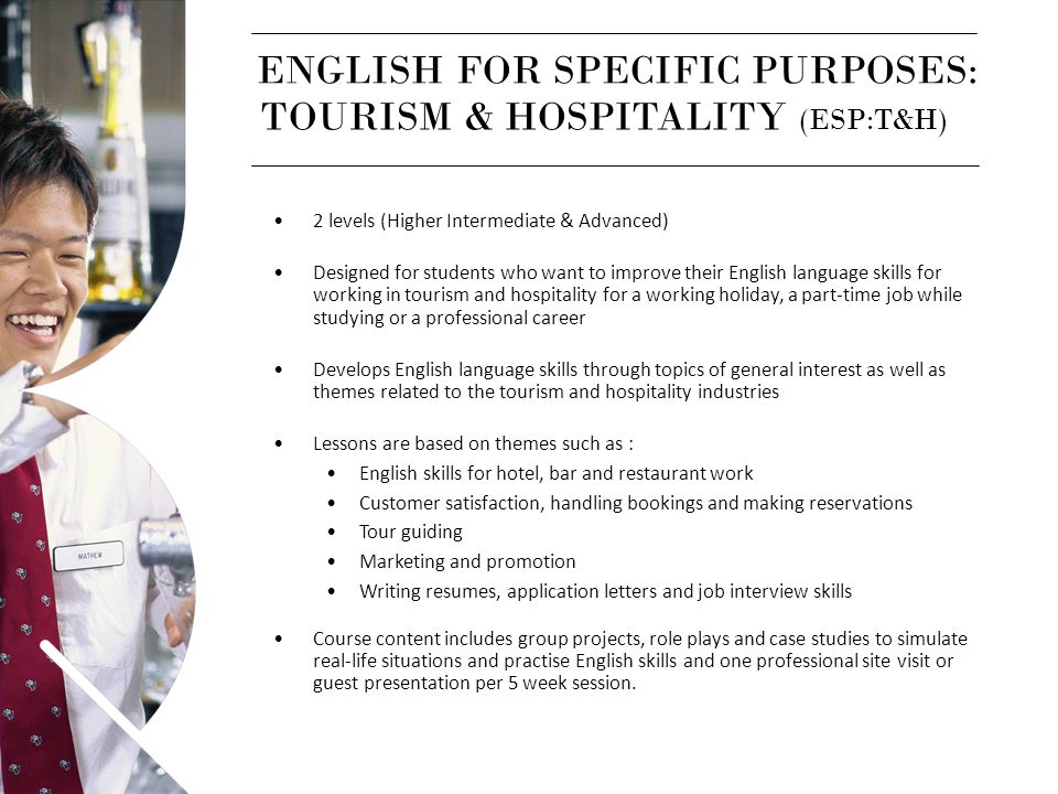 ENGLISH FOR SPECIFIC PURPOSES: TOURISM & HOSPITALITY (ESP:T&H)