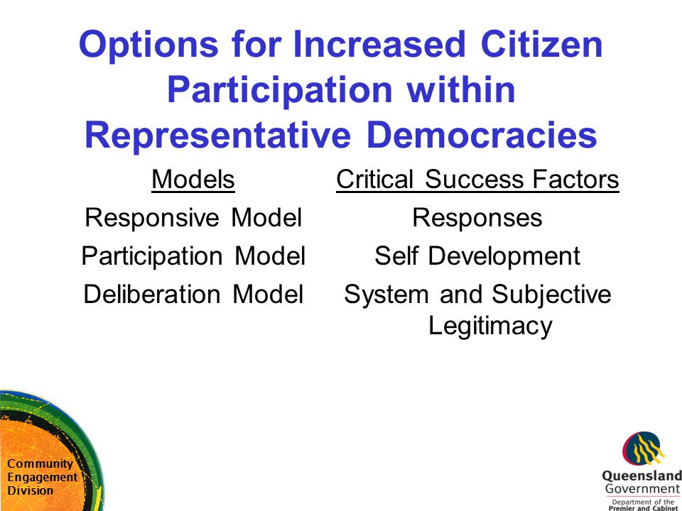Options for Increased Citizen Participation within Representative Democracies