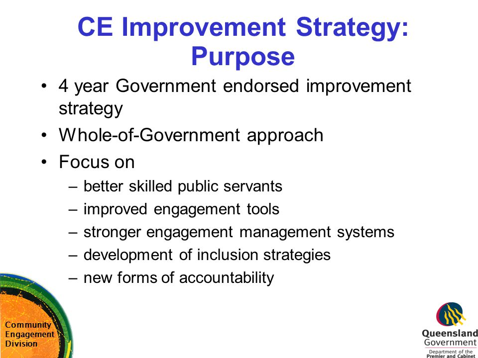 CE Improvement Strategy: Purpose