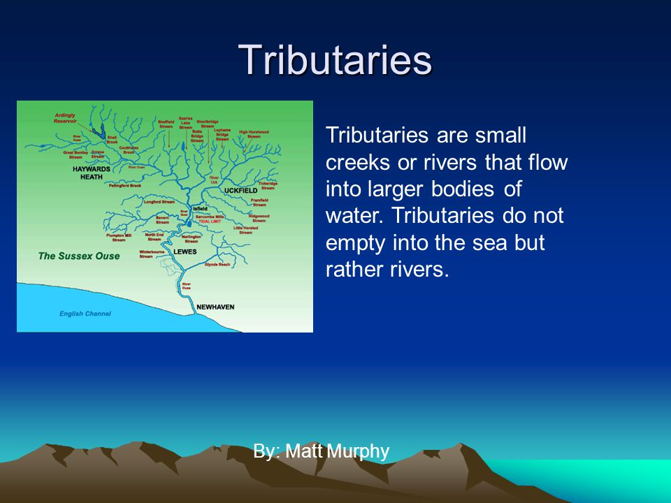 Tributaries Tributaries are small creeks or rivers that flow into larger bodies of water. Tributaries do not empty into the sea but rather rivers.