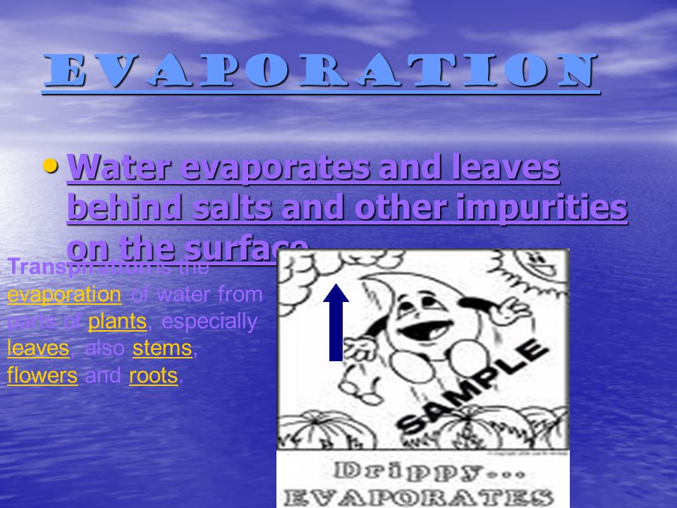Evaporation Water evaporates and leaves behind salts and other impurities on the surface.