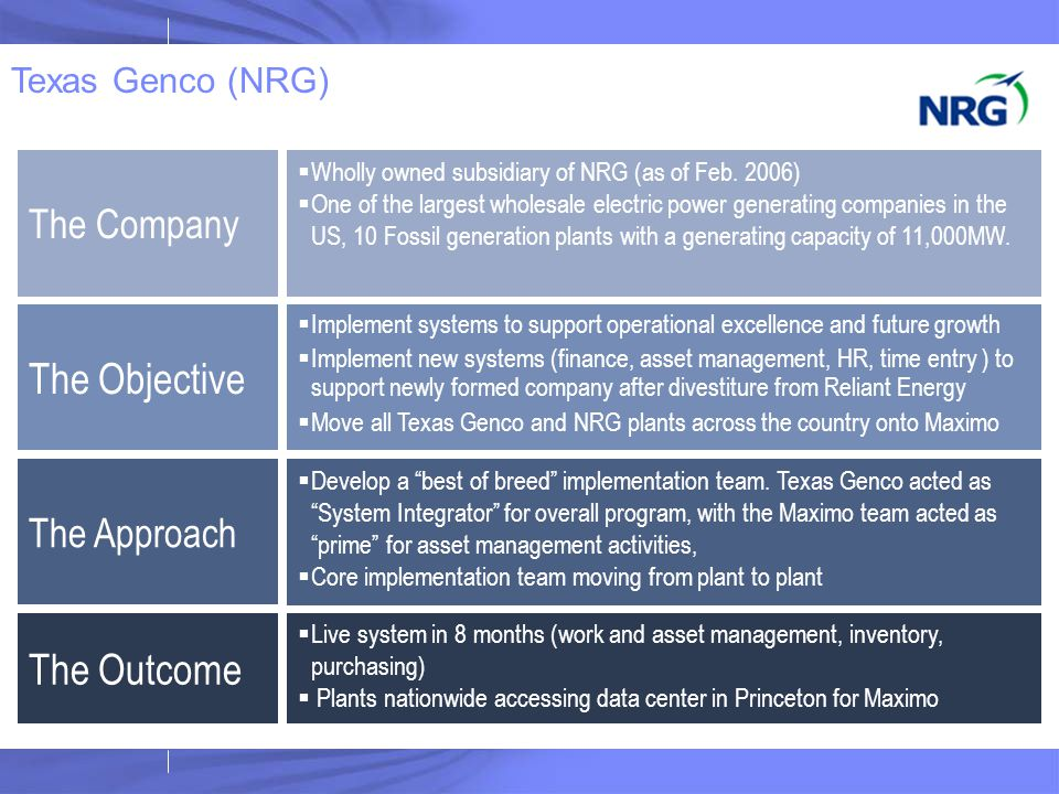 The Objective The Outcome The Company The Approach Texas Genco (NRG)