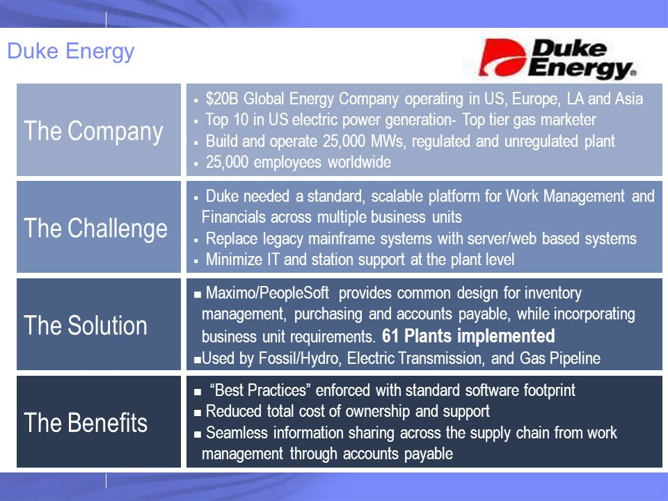The Company The Challenge The Solution The Benefits Duke Energy