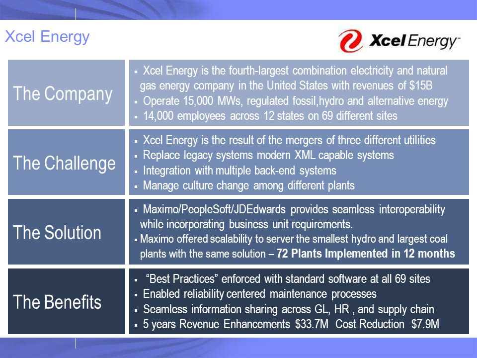 The Company The Challenge The Solution The Benefits Xcel Energy