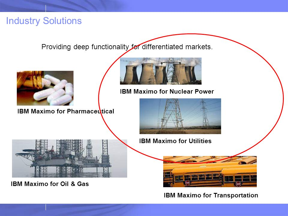 Industry Solutions Providing deep functionality for differentiated markets. IBM Maximo for Nuclear Power.